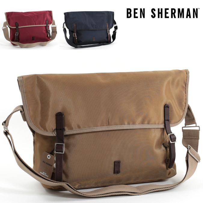ベンシャーマン Ben Sherman メッセンジャーバッグ ショルダーバッグ ナイロン 49x32x14cm 3色 マルーン サンド ネイビー メンズ レディース プレゼント ギフト
