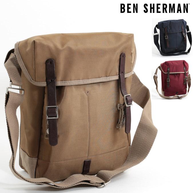 ベンシャーマン Ben Sherman ショルダーバッグ タブレットバッグ ナイロン 39x34x10cm 3色 サンド マルーン ネイビー メンズ レディース プレゼント ギフト