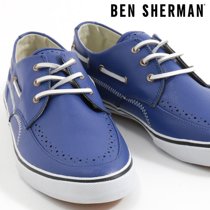 ベンシャーマン Ben Sherman デッキシューズ シューズ スニーカー 本革レザー ブルー メンズ プレゼント ギフト モッズファッション