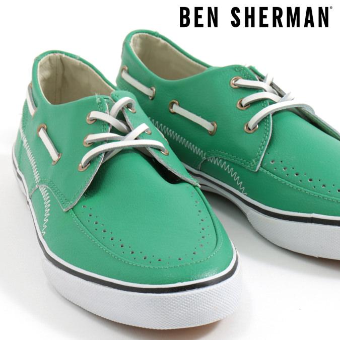 ベンシャーマン Ben Sherman デッキシューズ シューズ スニーカー 本革レザー グリーン メンズ プレゼント ギフト モッズファッション