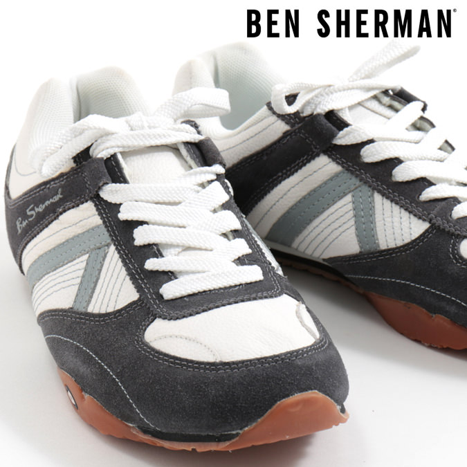 ベンシャーマン Ben Sherman シューズ スニーカー 本革レザー グレー メンズ プレゼント ギフト モッズファッション