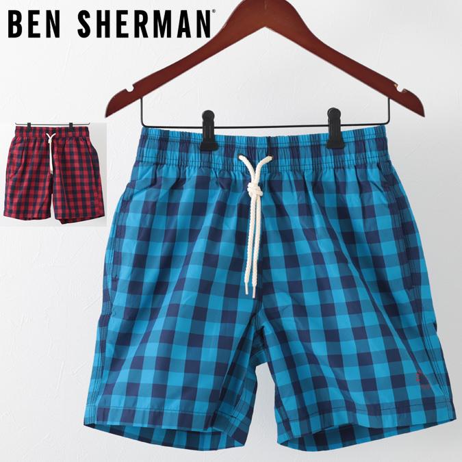 ベンシャーマン メンズ 海パン 水着 スイムショーツ ギンガムチェック Ben Sherman 2色 ウォッシュドブルー レターボックスレッド モッズ プレゼント ギフト