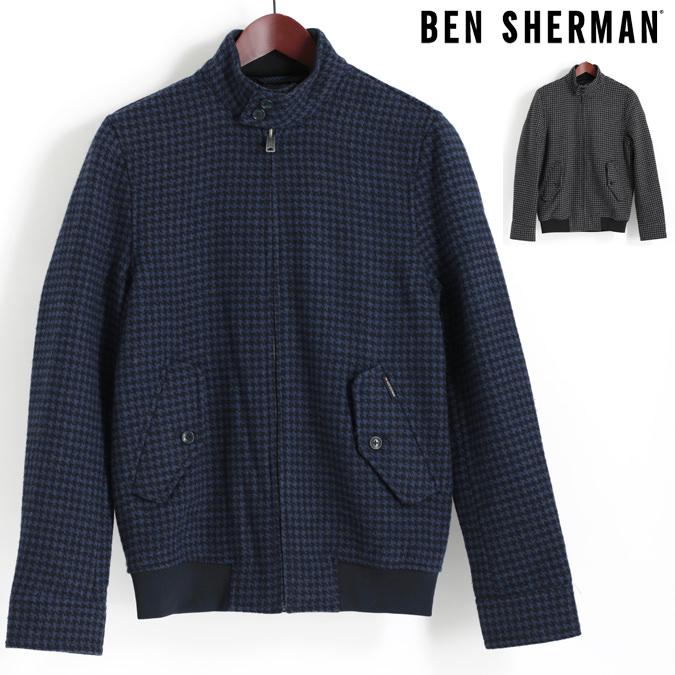 ベンシャーマン Ben Sherman ハリントンジャケット スウィングトップ ウール ブルゾン ドッグトゥース 千鳥格子 2色 ネイビー チャコール メンズ プレゼント ギフト
