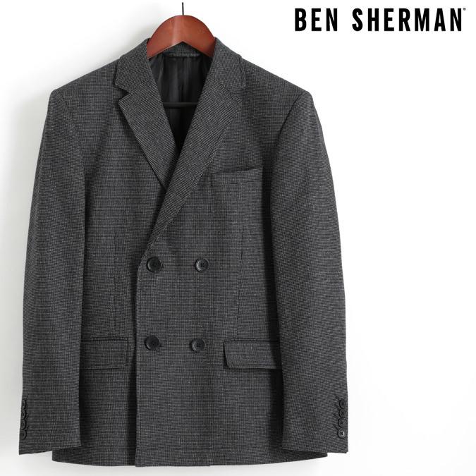 ベンシャーマン Ben Sherman ブレザージャケット テーラードジャケット ダブルボタン ウール ピーコート ブラック メンズ プレゼント ギフト