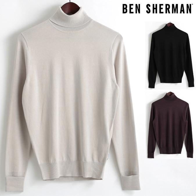 セール ベンシャーマン Ben Sherman セーター タートルネック ハイネック 3色 シルバーグレー ブラック ワイン メンズ 上着 アウター プレゼント ギフト