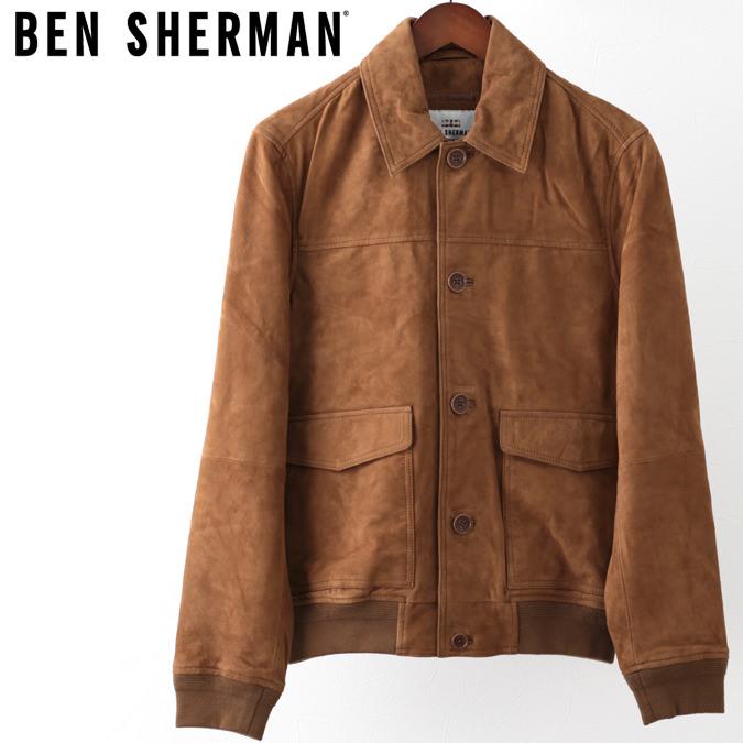ベンシャーマン Ben Sherman スウェードレザー ボンバージャケット 本革 レザージャケット タン スエード メンズ プレゼント ギフト