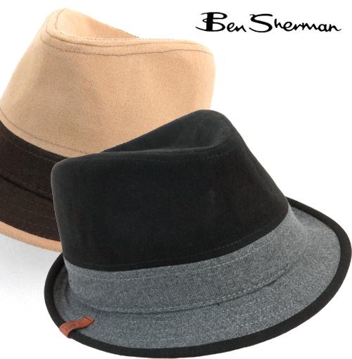 ベンシャーマン Ben Sherman 帽子 中折れ メルトン トリルビィ ハット メンズ 【送料無料】 モッズ ファッション 帽子 ブラック キャメル mj00108 プレゼント ギフト
