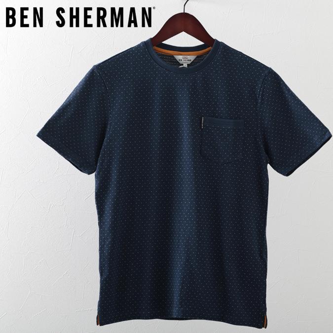 ベンシャーマン メンズ Tシャツ ピンドット 水玉 Ben Sherman ダークブルー プレゼント ギフト