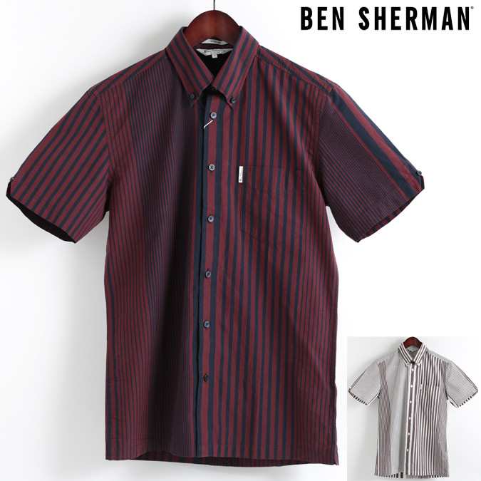 ベンシャーマン Ben Sherman 半袖シャツ アーカイブストライプ 2色 ボタンダウン メンズ プレゼント ギフト モッズファッション