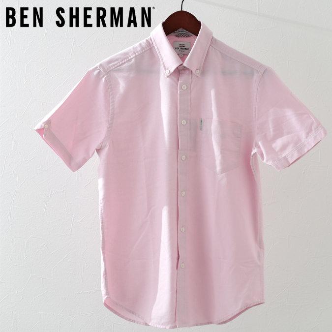 ベンシャーマン メンズ 半袖シャツ コア オックスフォード Ben Sherman プレーン クラシックピンク レギュラーフィット プレゼント ギフト