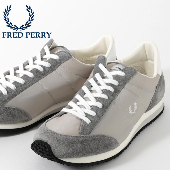 フレッドペリー Fred Perry スニーカー シューズ ヴィンソン ナイロン ツイル グレー 軽量 日本製 メンズ 靴 プレゼント ギフト 正規販売店
