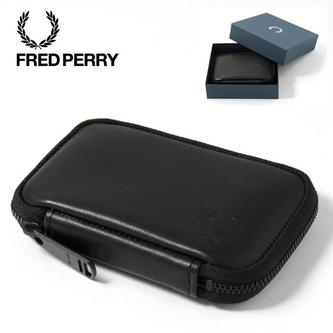 フレッドペリー Fred Perry ジップアラウンド レザー コンパクト ウォレット ブラック 正規販売店 レディース メンズ プレゼント ギフト