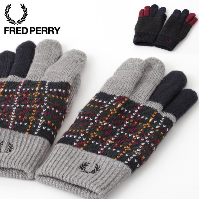 フレッドペリー Fred Perry グローブ 手袋 ニット スマートフォン対応 18AW 新作 2色 ネイビー グレー レディース メンズ プレゼント ギフト 正規販売店