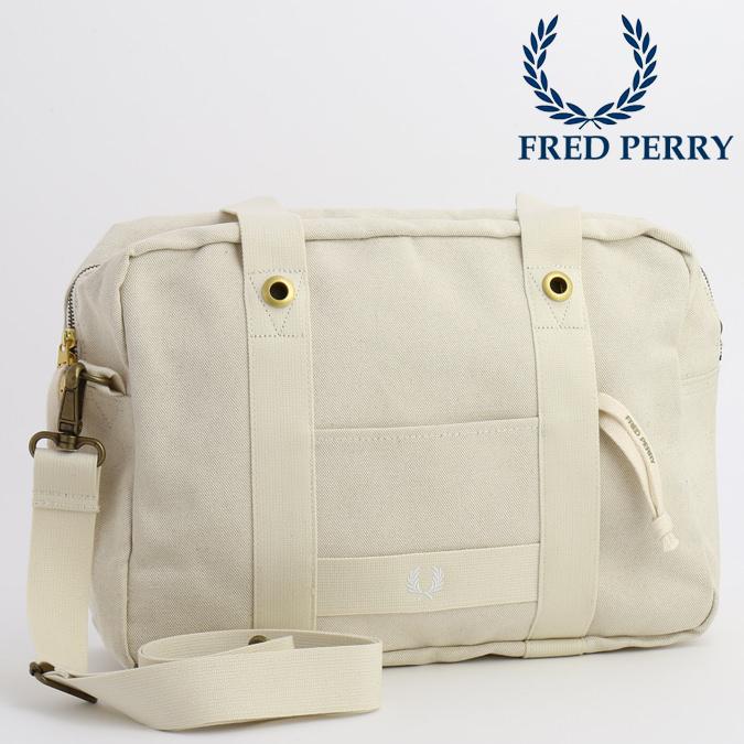 フレッドペリー Fred Perry フライトバッグ キャンバス 2WAY 38x28x15cm 高級リネン オフホワイト 大容量 メンズ レディース 通学 通勤 プレゼント ギフト 正規販売店