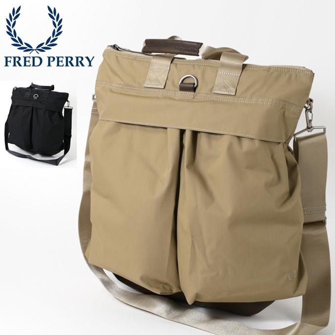 フレッドペリー Fred Perry ヘルメットバッグ ショルダーバッグ 2WAY 48x42cm 2色 ネイビー ベージュ 大容量 大きい メンズ レディース 通学 通勤 プレゼント ギフト 正規販売店