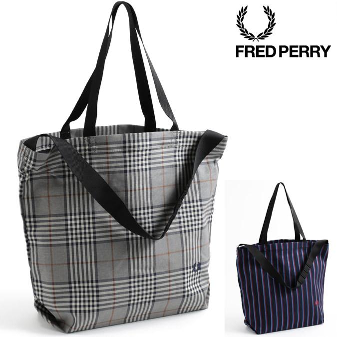 フレッドペリー Fred Perry トートバッグ 18AW 40×32cm 大容量 2色 ネイビー オフホワイト ストライプ チェック レディース メンズ プレゼント ギフト 正規販売店