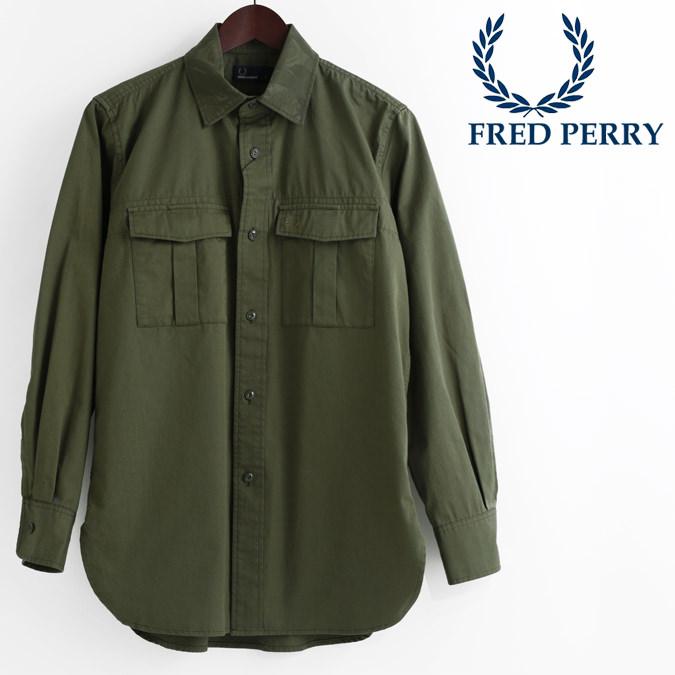 フレッドペリー Fred Perry ミリタリーシャツ 長袖シャツ オリーブ カーキ ローレル 正規販売店 メンズ プレゼント ギフト
