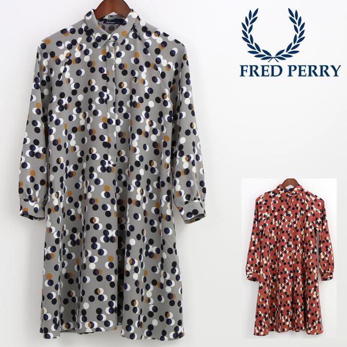 セール SALE フレッドペリー Fred Perry レディース プリントシャツ ドレス ドット レトロ 正規販売店 プレゼント ギフト