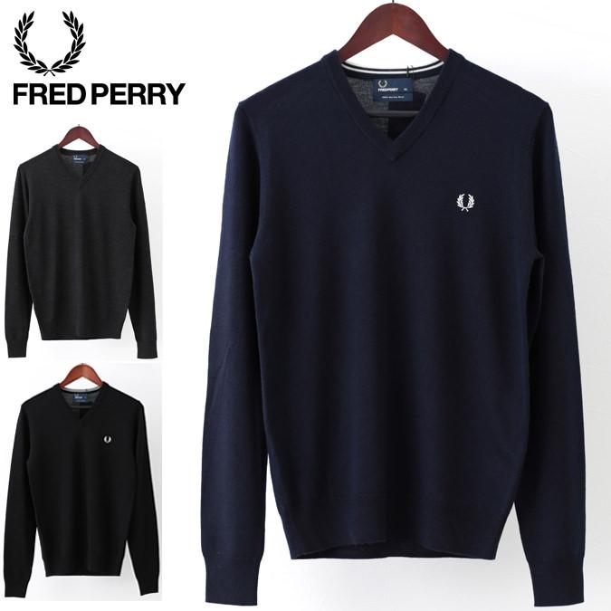 フレッドペリー F赤 Perry セーター Vネック クラシック ウール 3色 ブラック ブラックマール ダークカーボン 正規販売店 メンズ プレゼント ギフト