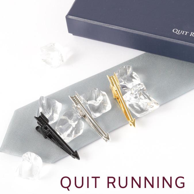 ネクタイピン アロー 3点セット Quit Running ステンレス タイクリップ タイバー 英国ブランド 男性 クイトランニング プレゼント ギフト 就職祝い 卒業式 メンズ ステンレス 銀 シンプル 新社会人