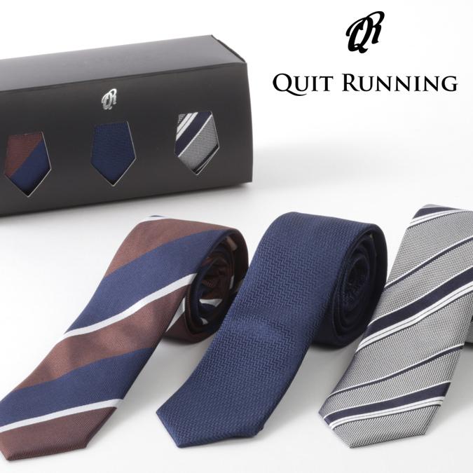 ピュアシルク100% ネクタイ 3本セット Quit Running ストライプ 3種類 シェブロン シルク ネクタイ ハンドメイド クイトランニング メンズ 英国ブランド ロック 個性的 音楽 男性向け プレゼント ギフト 就職祝い 卒業式