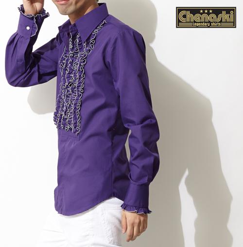 Chenaski シャツ フリル 衣装 長袖シャツ メンズ モッズファッション モッズ 長袖 ヴァイオレット フリフリ ゴシック プレゼント ギフト