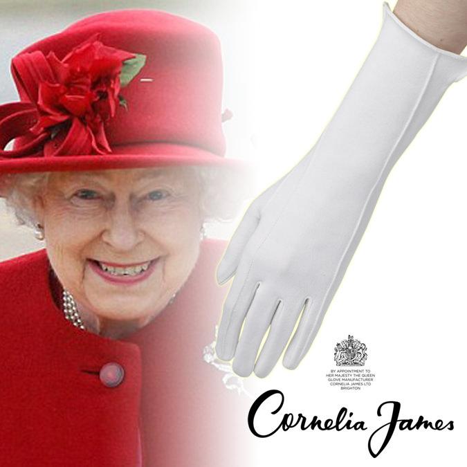 セール エリザベス女王陛下ご愛用モデル コットン手袋 英国王室御用達 高級 英国製 ハンドメイド コーネリア ジェームス レジーナ コットン グローブ 手袋 ホワイト レディース プレゼント ギフト