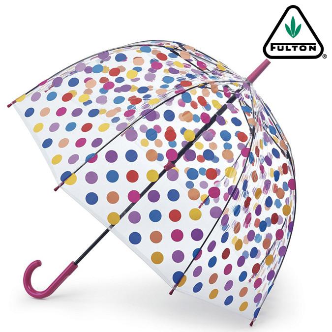 フルトン 傘 レディース バードケージ SmallSpots 水玉 長傘 正規 かさ エリザベス女王 プレゼント ギフト