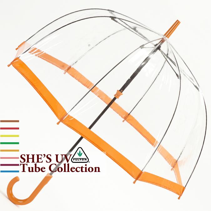 フルトン Fulton 傘 バードケージ She's UV City Orange プロテクション オレンジ 長傘 レディース 正規 かさ FULTON プレゼント ギフト