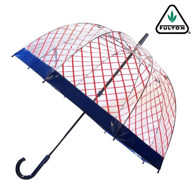 Fulton 傘 バードケージ キャンディー ストライプ ネイビー 長傘 ブランド レディース プレゼント ギフト