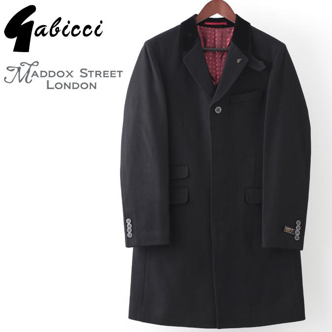 ラストセール Gabicci メンズ クロンビーコート ウール ガビッチ ロングコート Maddox Street London ブラック レトロ モッズファッション プレゼント ギフト