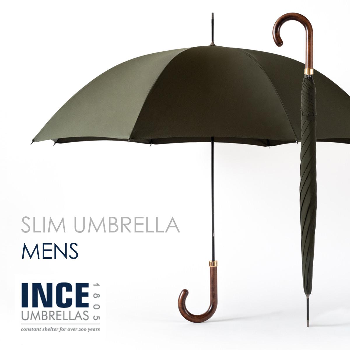 イギリスで最も長い歴史を持つ傘メーカーの細く華奢な傘 細い 丈夫 スタイリッシュ 高級 ウッド 木ハンドル メープル オシャレ グリーン 緑 カーキ incegencs-darkforest 新商品!新型 INCE UMBRELLA City Slim ダークフォレスト 2021 長傘 かさ 紳士 イギリス ギフト 引出物 スリム 日傘兼用 無地 Forest シティ 新作 Dark ロンドン メンズ インスアンブレラ