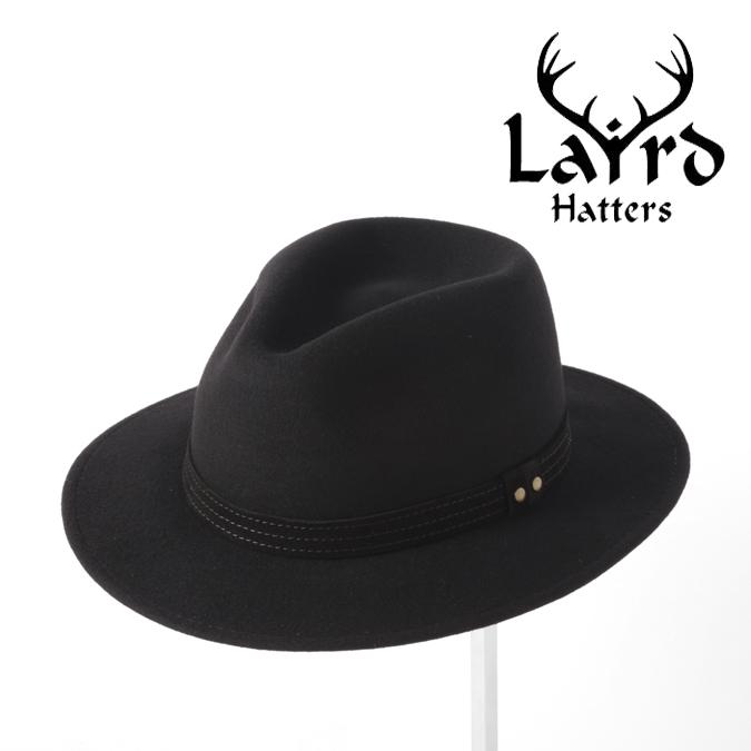 Laird Hatters メンズ フェドラハット 英国製 ウールハット フェルトハット レアードハッター 20SS 新作 Hunter Fedora 帽子 イギリス製 ブラック レディース モッズファッション 紳士 ホワイトデー