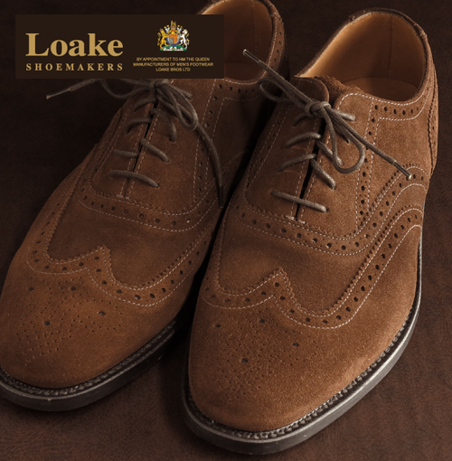 Loake England Rourke England mens shoes 202 United Kingdom brand Lifestyle Full Brogue Goodyear Welted suede Brown パーフォレイト wingtip leather leather leather leather shoes leather shoes United Kingdom Royal loake202brownsuede