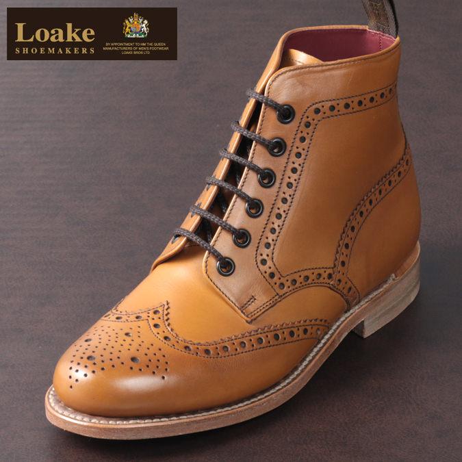 Loake England レディース ブーツ ローク イングランド 革靴 カーフブローグ シューズ タン F 3E ANNE