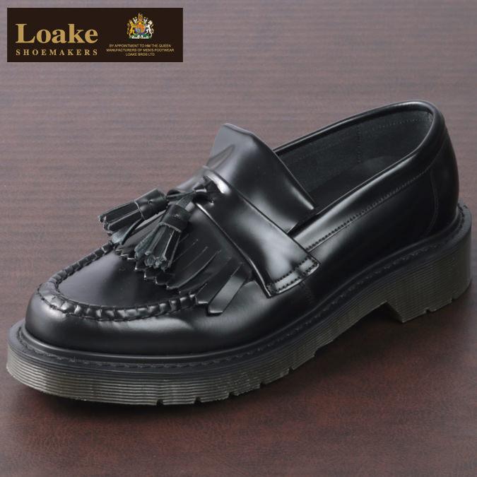 ロークイングランド メンズ タッセルローファー 革靴 ビジネス LoakeEngland EX 2E Brighton ブラック ローファー モッズ レディース プレゼント ギフト