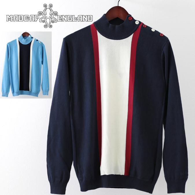 Madcap England マッドキャップ タートルネックセーター ストライプ 2色 ネイビー スカイ レトロ メンズ モッズファッション プレゼント ギフト