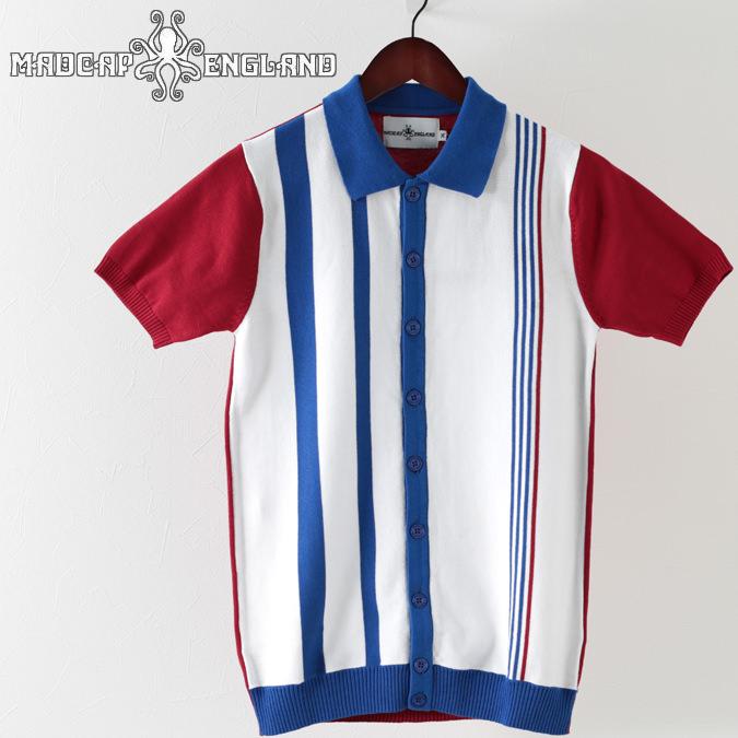 Madcap England メンズ ポロシャツ ポロ ボタンスルー 2019 新作 ストライプ マッドキャップ ホワイト プレゼント ギフト