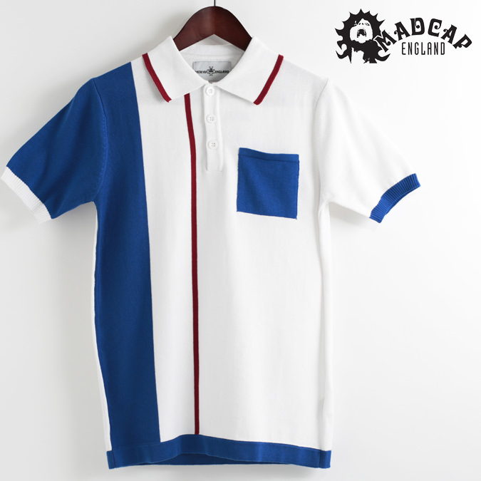 Madcap England ポロシャツ ポロ ストライプ マッドキャップ ホワイト メンズ プレゼント ギフト