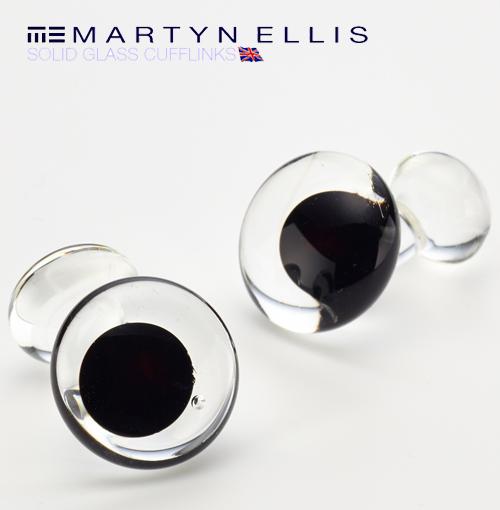 Martyn Ellis カフス カフスボタン カフリンクス 男性用 マーティン エリス ブラック ガラス カフス カフリンクス プレゼント ギフト 父の日