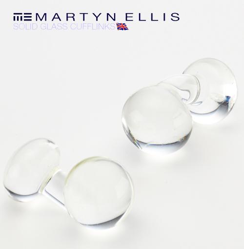 Martyn Ellis カフス カフスボタン カフリンクス 男性用 マーティン エリス ガラス クリア カフス カフリンクス プレゼント ギフト