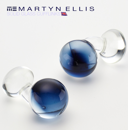 Martyn Ellis カフス カフスボタン カフリンクス 男性用 マーティン エリス ガラス ミッドナイト カフス カフリンクス プレゼント ギフト