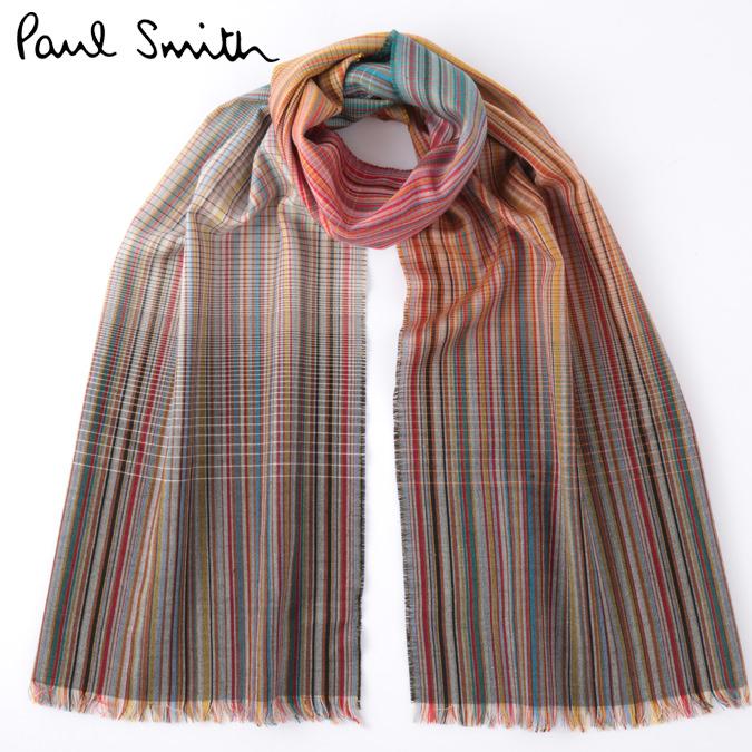 ラストセール PAUL SMITH メンズ マフラー スカーフ シルク ウール ポールスミス 大判 マルチストライプ モッズファッション 英国製 Made in England プレゼント ギフト ロング 長い