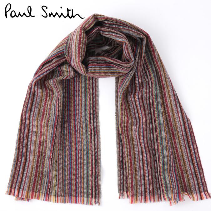PAUL SMITH メンズ スカーフ ポールスミス マフラー ラムズウール ヘリンボーン マルチストライプ 大判 英国製 モッズファッション プレゼント ギフト ロング 長い 父の日