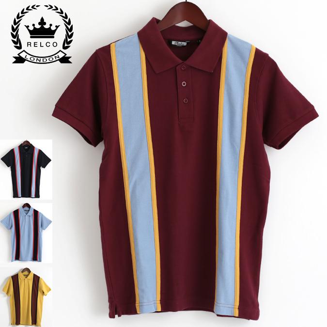 RELCO メンズ ポロシャツ ポロ レルコ レトロストライプ 4色 バーガンディー マスタード ネイビー スカイブルー モッズファッション プレゼント ギフト