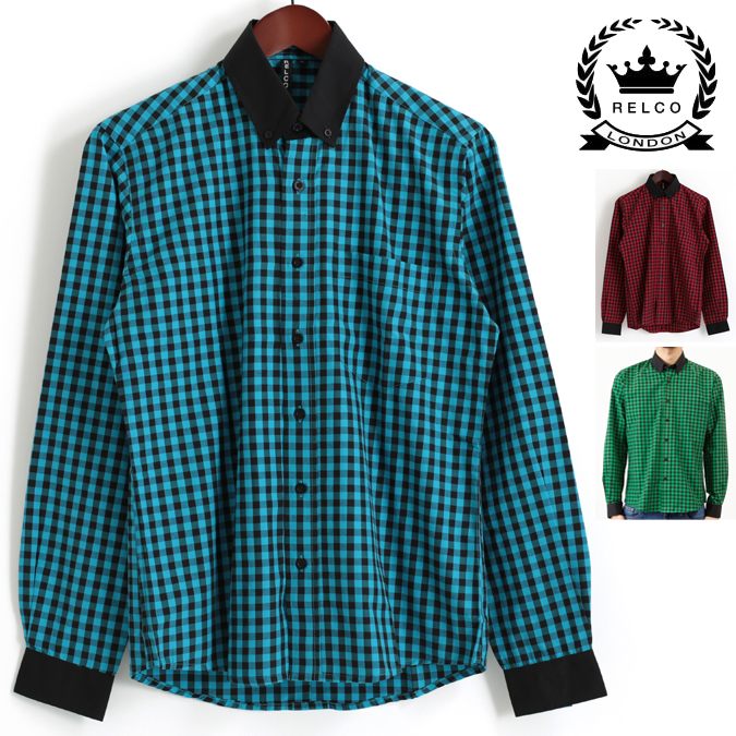 RELCO LONDON 長袖シャツ ギンガムチェック 3色 レッド グリーン ブルー 衿袖黒 レルコ ロンドン メンズ プレゼント ギフト