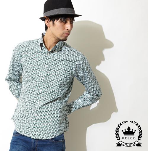 RELCO シャツ 長袖 Geometric メンズ モッズ グリーン UK モッズシャツ モッズファッション プレゼント ギフト