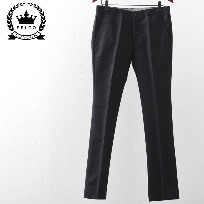 RELCO メンズ パンツ ボトムス トラウザー レルコ プレイン スタープレスト ズボン ブラック レトロ モッズファッション プレゼント ギフト