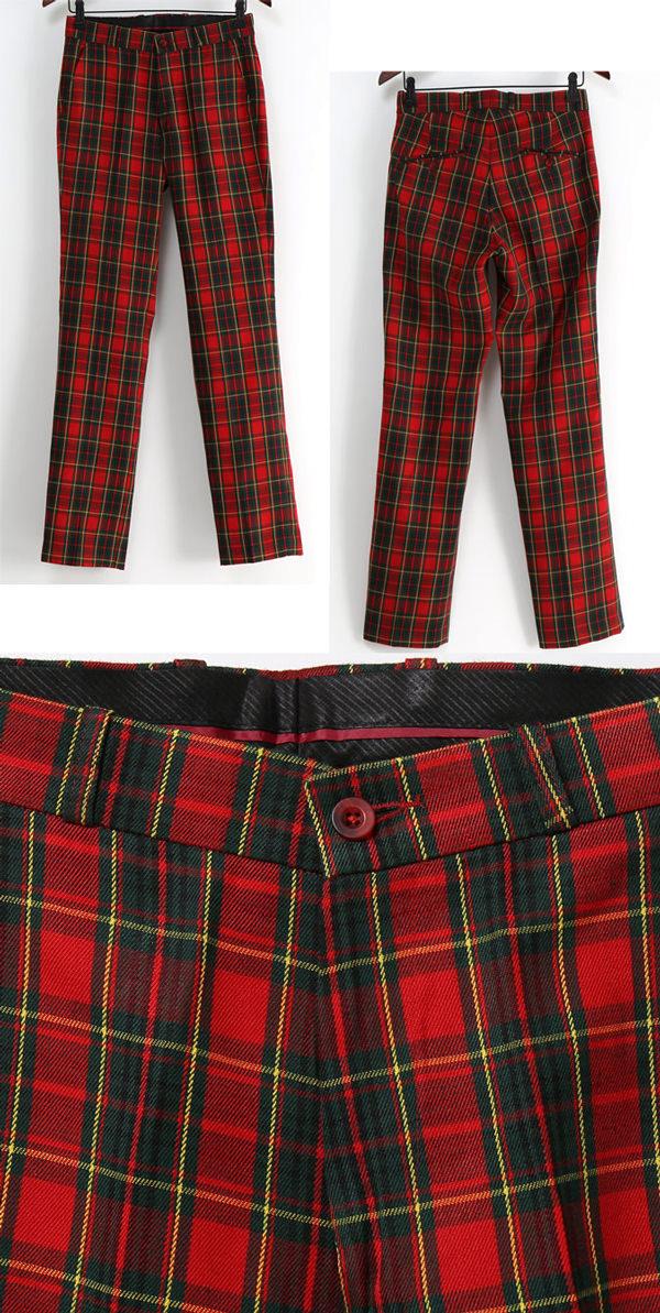RELCO レルコ Tartan pants bottoms mens mod fashion pants skinny slim fit Red Red Red Tartan Check Trouser Sta Press スタープレスト UK モッズパンツ mtrstartan * 28 * 30 * 34 * 36
