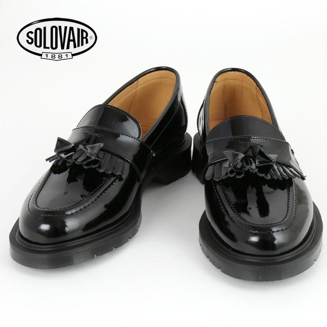 SOLOVAIR ソロヴェアー 革靴 レディース ブラック パテント ローファー エナメル タッセル フリンジ レディース ギフト 女性 Black Patent loafer ビジネス靴 クラシック イギリス モッズ